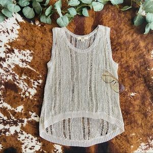 Knit Taupe Issi Beaded Sequin Tank Top Size S